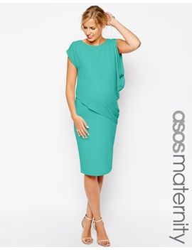 asos-maternity-bodycon-dress-with-drape-overlay by asos-maternity