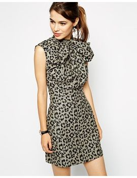 asos-skater-dress-in-animal-jacquard-with-bow-front by asos-collection