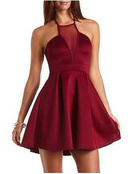 pleated-halter-dress-with-mesh by charlotte-russe