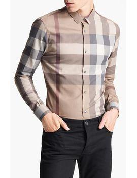 london-pembury-trim-fit-check-shirt by burberry