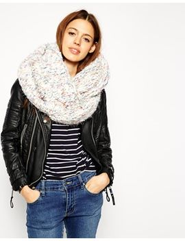 asos-eyelash-mixed-chunky-knit-infinity-scarf by asos-collection