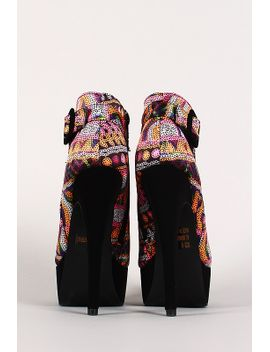 qupid-multicolor-dots-peep-toe-platform-ankle-bootie by urbanog