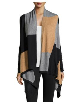 knit-colorblock-cardigan,-black_tobacco_heather-ash by neiman-marcus