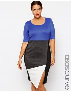 asos-curve-exclusive-pencil-dress-in-color-block by asos-curve