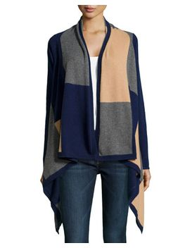 cashmere-cascading-brick-pattern-cardigan,-navy by neiman-marcus