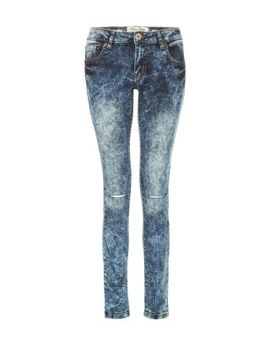 parisian-blue-acid-wash-ripped-knee-skinny-jeans by new-look