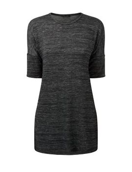 grey-slub-3_4-sleeve-longline-spit-side-top by new-look