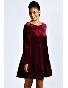 tabatha-velvet-long-sleeve-swing-dress by boohoo