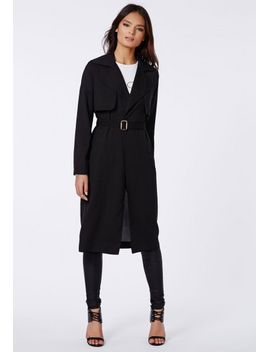 hennie-lightweight-trench-coat-black by missguided