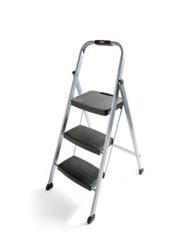 rubbermaid-rm-3w-folding-3-step-steel-frame-stool-with-hand-grip-and-plastic-steps,-200-pound-capacity,-silver-finish by rubbermaid