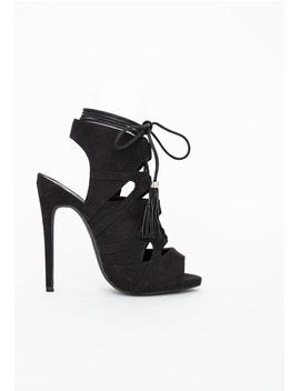 valentina-lace-up-tassel-heeled-sandals-black by missguided