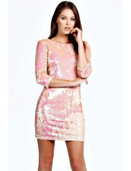 becca-sequin-bodycon-zip-back-dress by boohoo