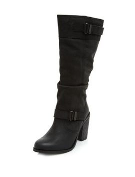 black-leather-buckle-trim-knee-high-boots by new-look