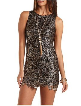 metallic-bodycon-lace-dress by charlotte-russe