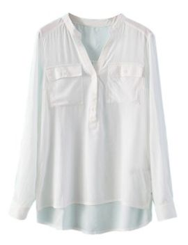 white-v-neck-buttoned-pocket-blouse by choies