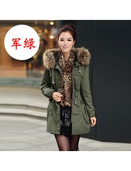 wadded-jacket-outerwear-womens-medium-long-winter-army-green-fur-collar-casual-thickening-cotton-padded-jacket by ali-express