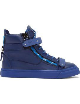 blue-leather-matte-buckle-sneakers by giuseppe-zanotti
