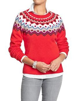 womens-fair-isle-yoke-sweaters by old-navy