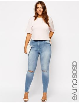 asos-curve-exclusive-ridley-skinny-jean-in-watercolour-blue-with-ripped-knees by asos-curve