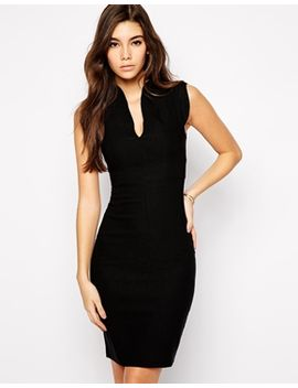 vesper-sexy-pencil-dress-with-plunge-neck-and-curved-sleeve by vesper