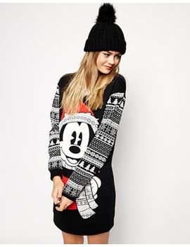 asos-sweater-dress-in-holidays-mickey-mouse-fairisle-print by asos-collection