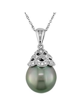 miadora-10k-white-gold-tahitian-pearl-and-diamond-necklace by miadora