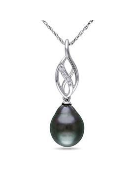 miadora-10k-white-gold-tahitian-pearl-and-diamond-accent-infinity-necklace-(95-10-mm) by generic