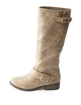 two-buckle-knee-high-riding-boots by charlotte-russe