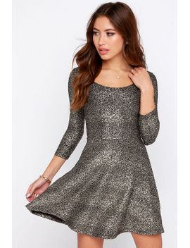interstellar-dweller-gold-skater-dress by lulus