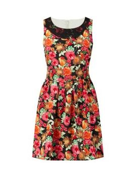 tenki-black-lace-collar-floral-print-skater-dress by new-look