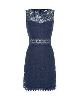 navy-sleeveless-baroque-lace-sheer-panel-dress by new-look