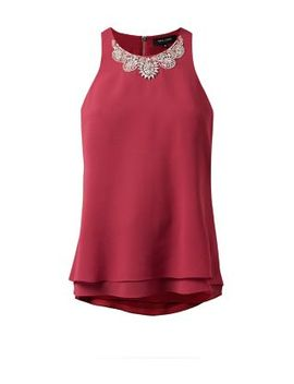 dark-pink-embellished-neck-longline-vest by new-look