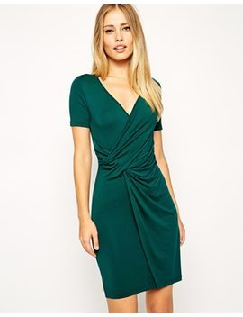 asos-bodycon-dress-with-wrap-and-twist-front-and-short-sleeves by asos-collection