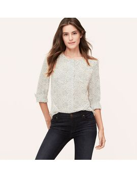 dotted-shirred-utility-blouse by loft