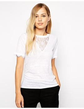 whistles-linen-t-shirt-with-lace-insert by whistles
