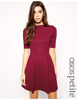asos-petite-skater-dress-in-texture-with-funnel-neck by asos-petite