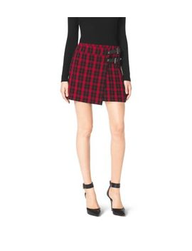 buckle-embellished-plaid-skirt by michael-kors