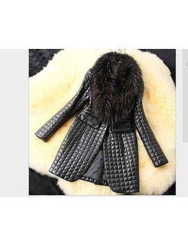 faux-fox-raccoon-fur-collar-leather-coat-winter-womens-jacket-long-parkas by ebay-seller