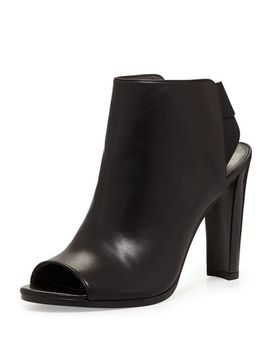 hereitis-peep-toe-leather-bootie,-black by stuart-weitzman