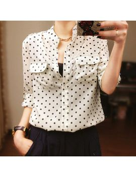cheap-women-clothes-from-china-polka-dot-chiffon-blouse-long-sleeve-female-shirt-stand-collar-ladies-blouse by ali-express