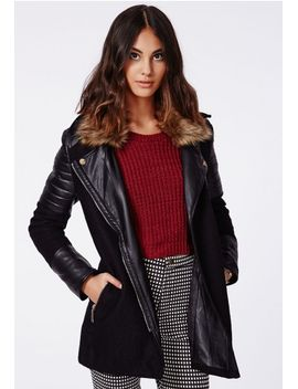 tavi-fur-collar-leather-sleeve-biker-coat-black by missguided