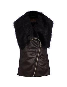 black-faux-fur-lined-vest by river-island