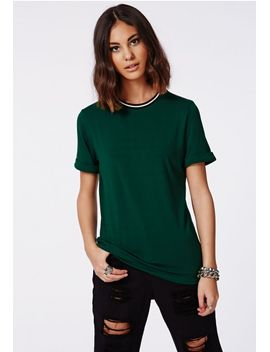 amorette-rolled-sleeve-sports-rib-t-shirt-deep-green by missguided