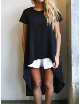 black-hi-lo-chiffon-panelled-back-short-sleeve-loose-t-shirt by choies