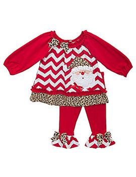 rare-editions-newborn-24-months-santa-appliqued-christmas-chevron-christmas-dress,-ruffle-leggings-&-headband-set by generic