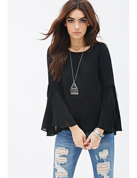fringed-bell-sleeve-top by forever-21