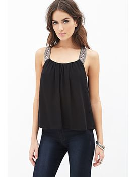 beaded-chiffon-trapeze-tank by forever-21