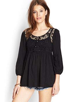 floral-crochet-peasant-top by forever-21
