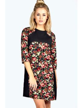 trixie-contrast-panel-woven-shift-dress by boohoo