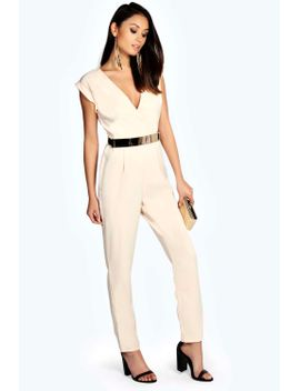 shanae-roll-sleeve-metal-belted-woven-jumpsuit by boohoo